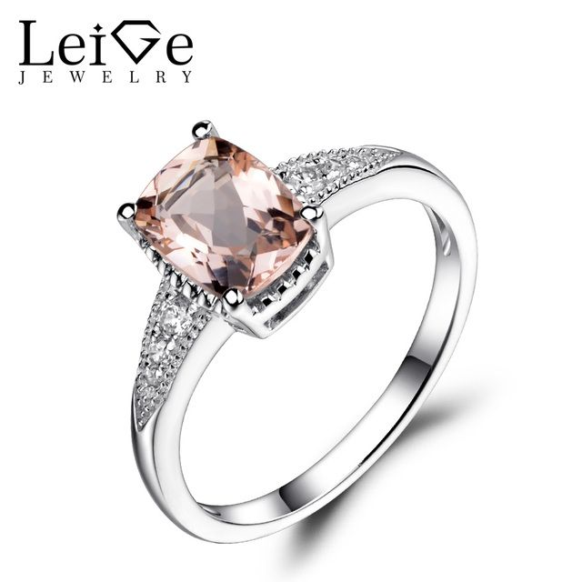 Leige Jewelry Natural Morganite Wedding Engagement Rings Pink Cushion Cut Gemstone Rings Sterling Silver 925 Fine Jewelry