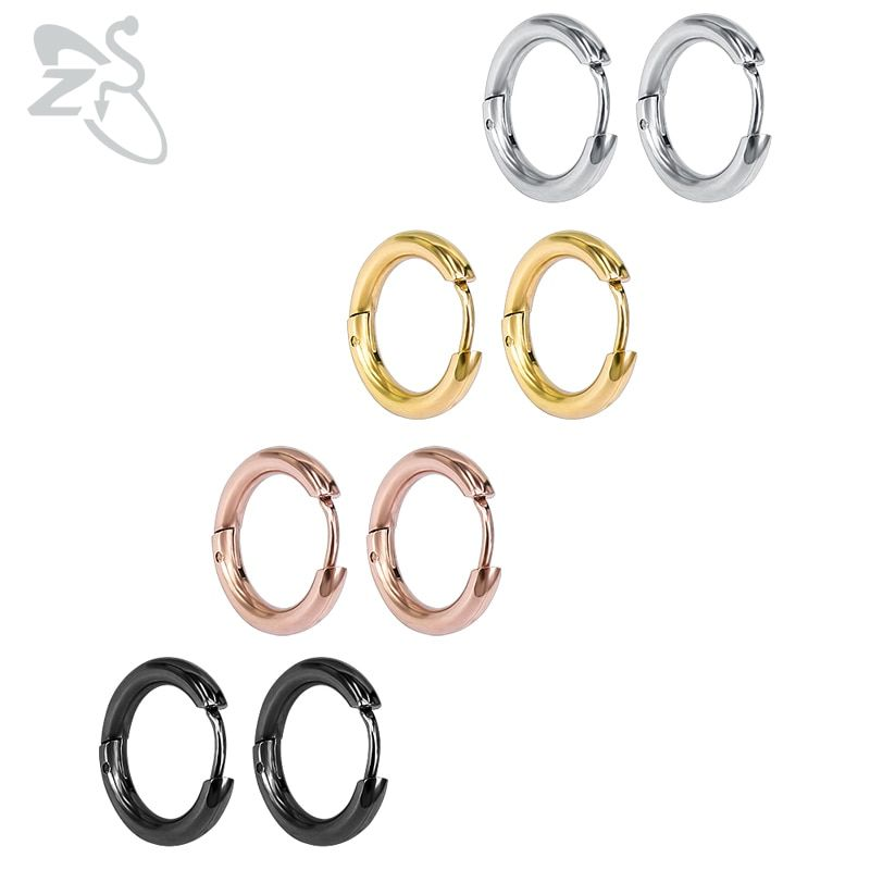 Small Hoop Earrings Silver Gold Stainless Steel Hoop Earring for Women Men Ear Rings Clip Colored Creoles Huggie Circle Earrings
