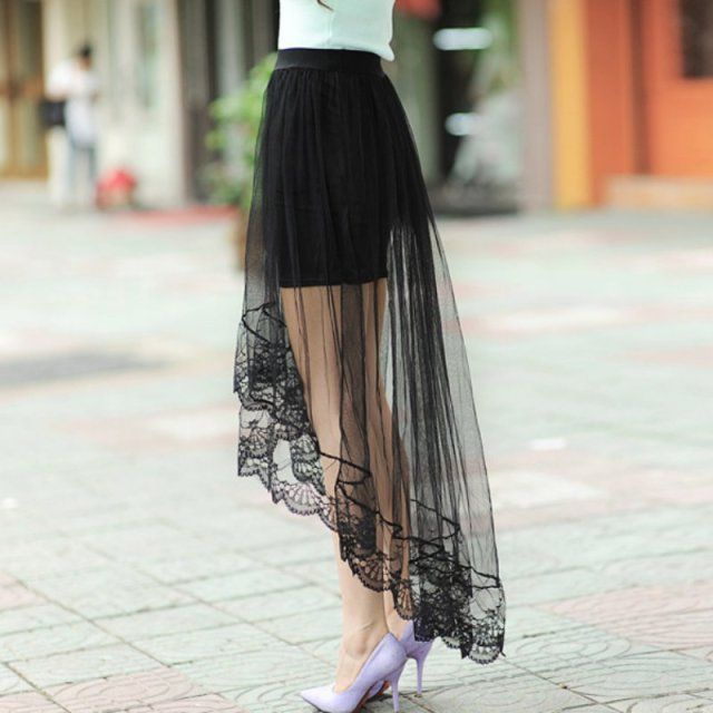 2016 New Summer Women Sexy Lace Skirts Womens Fashion Long Section Skirt Jupe Tulle Black and White Short Skirt Hot