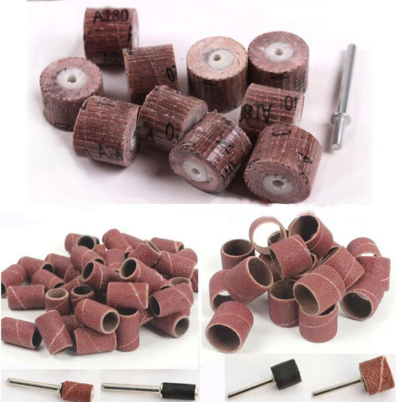 70x sanding sleeves sandpaper drum grinding discs abrasive polishing wheel for woodworking dremel mini drill tools accessories