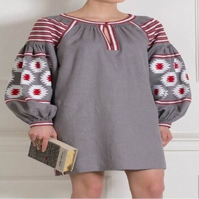 Gray Vita Kin style linen Cotton Belted TUNIC vyshyvanka dress white red Embroidery For Mori Girl Women Loose national dress