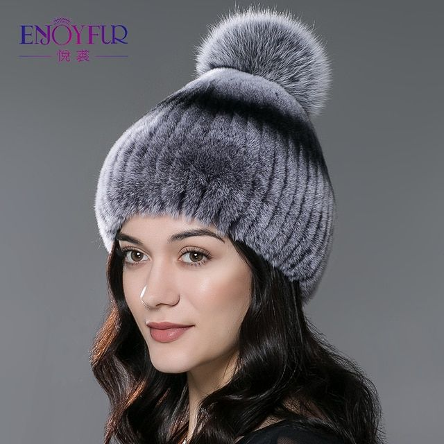 Winter fur hat for women real rex rabbit fur hat with fox fur pom poms fur knitted beanies 2017 new fashion good quality caps