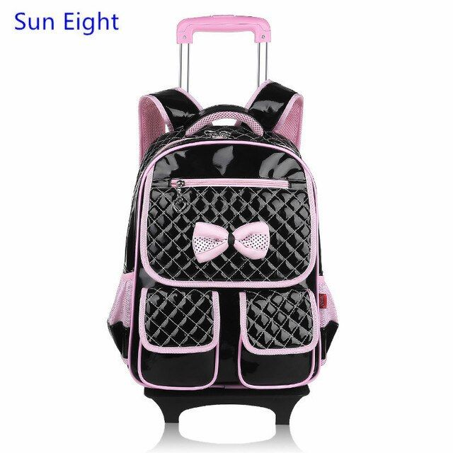 Sun Eight kids trolley school bag girl school backpack with wheels korean style black leather backpack for girls children bag