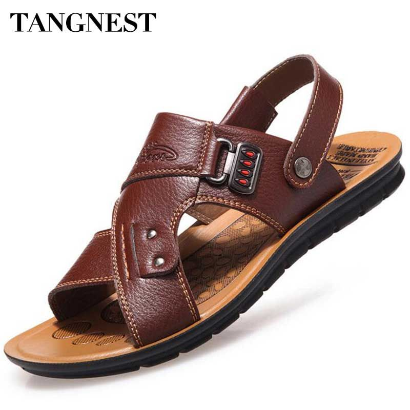 Tangnest Men Sandals 2017 Summer New Men Beach Slippers Pu Leather Slip On Sandals For Man Casual Beach Shoes Size 38~44 XMT201