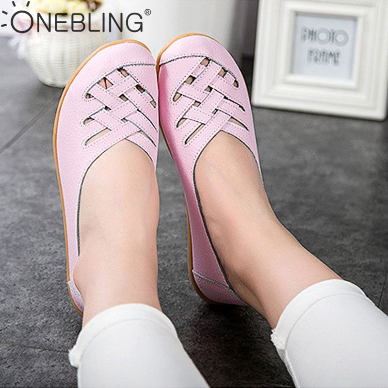 OneBling 2019 Genuine Leather Casual Loafers Shoes Women Breathable Summer Shoes Flats Hollow Out Plus Size 34-44 Sandals