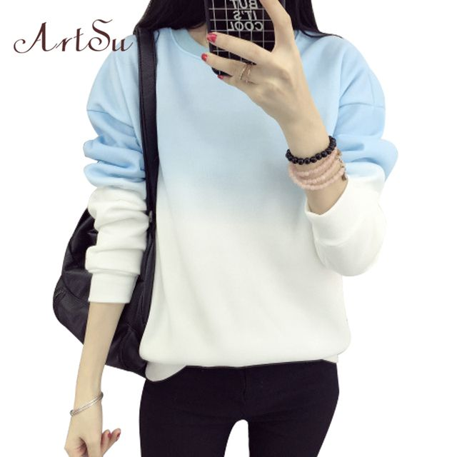 ArtSu Autumn Winter Thicken Fleece Gradient Color Hoodies Sweatshirt Women Hoody Tracksuit Cute Sweatshirts Clothing ASHO50037