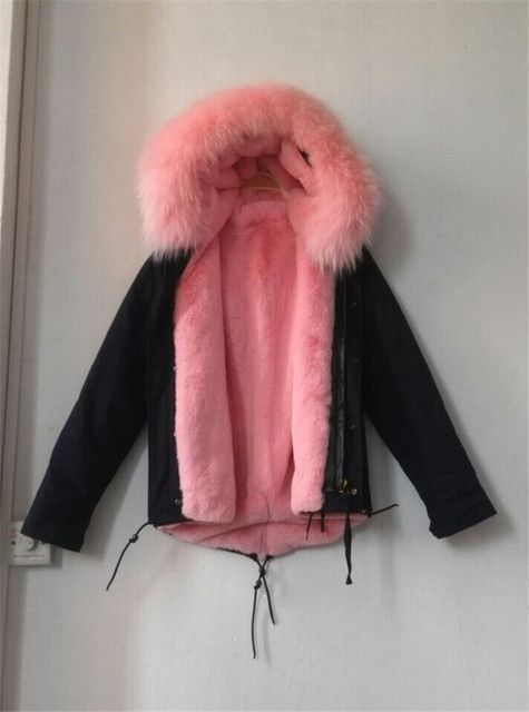 High quality real photos fashion mr mrs fur jacket light pink faux fur lined coats with real raccoon fur collar hood parka