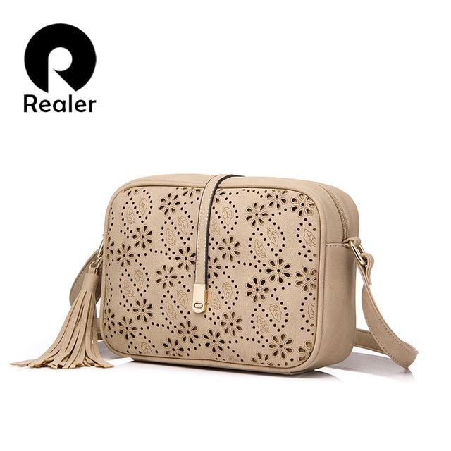 REALER brand new women messenger bags flower hollow out design flap handbag female tassel bag vintage shoulder bag beige