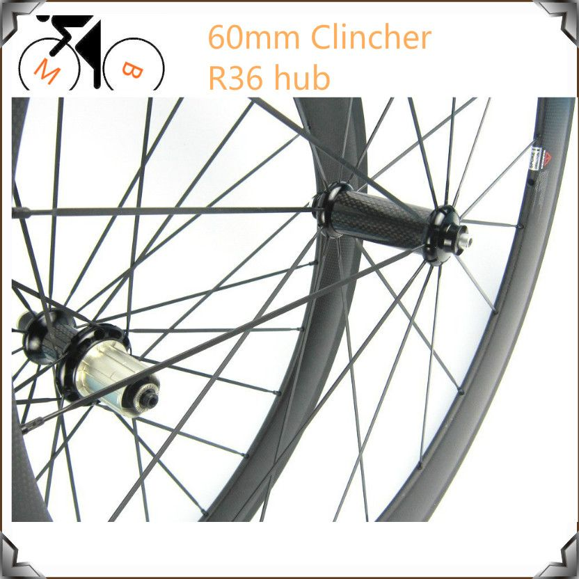 Carbon Bike Wheel Clincher 60mm R36 Hub Clincher Road Wheelset 700C Carbon Road Wheels  bicicleta ruote carbonio