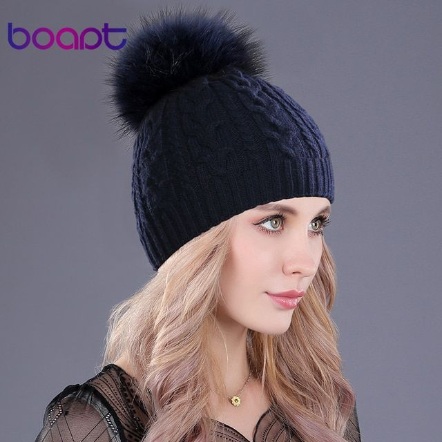 [boapt] cashmere soft thick warm double-deck twist knit caps hats  for women's winter genuine raccoon fur pompons ladies beanie