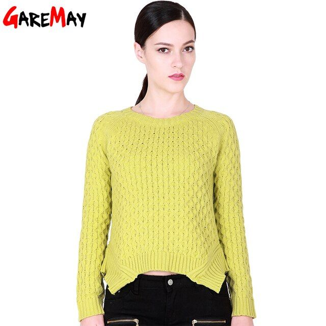 GAREMAY Spring 2017 Women Sweater And Pullover Pull Femme Irregular Hem Trendy Knitted Sweater Short Solid Sweater For Women 062