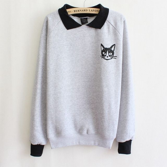 turn-down collar pullovers hoodies fleece inside small cat cotton sweatshirts women's Sweatshirt white and gray free shipping
