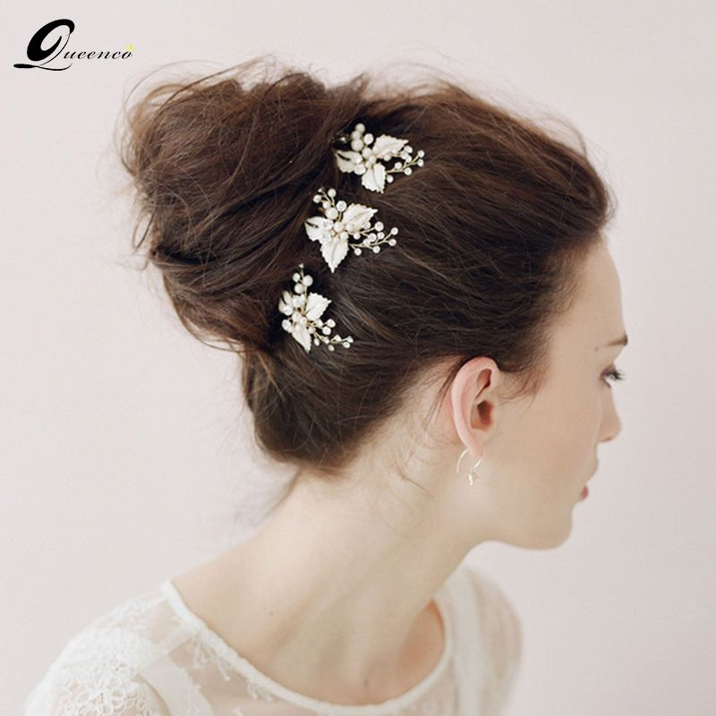 3 Pcs Vintage Bridal Hairpins Silver Leaves Flower Bridal Hair Pins Pearl Hair Stick Wedding Hair Accessories Headpiece For Girl