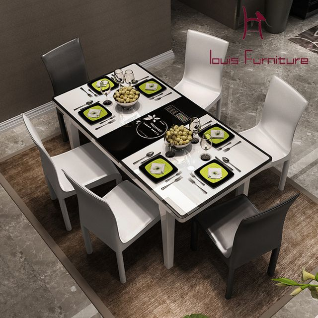 Contemporary and contracted induction cooker toughened glass table scale table table, eat desk and chair The latest hot style