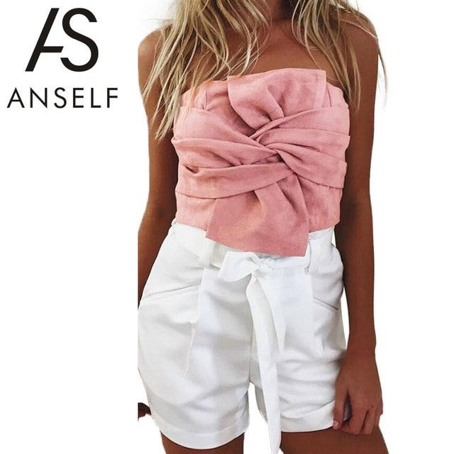 Anself Summer Women Suede Crop Top Bow Front Slash Neck Sleeveless Tank Top Zipper Bustier Cropped Tube Tops Blusa Pink/Grey