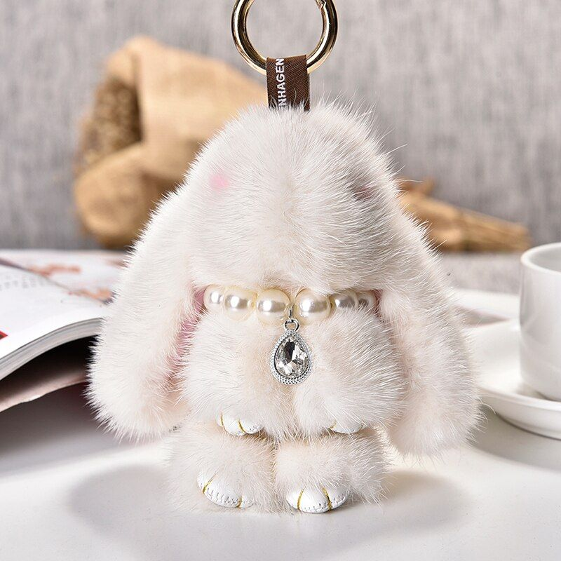 2017 Real Genuine mink rabbit Fur Keychains Rabbit Pendant Bag Car Charm Tag Cute Mini bunny Toy Doll Real Fur Monster Key chain