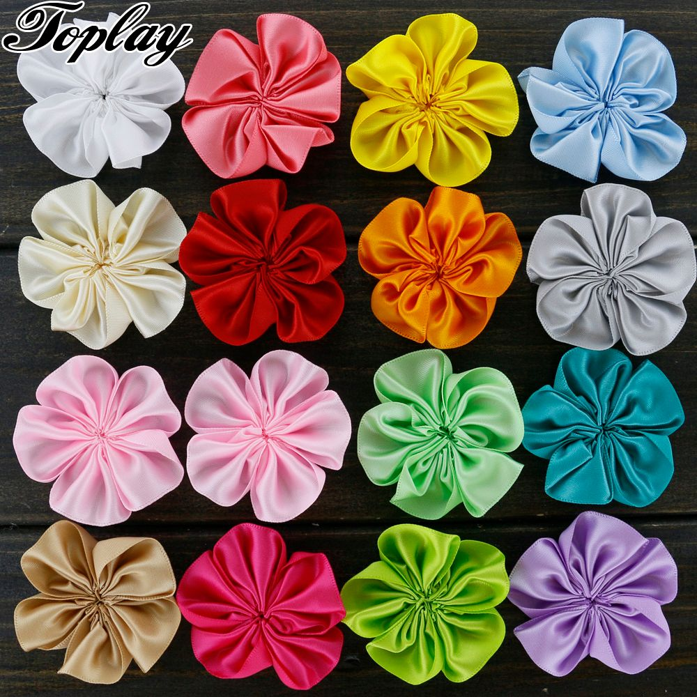 Toplay 100pcs/lot 5.5cm Small Fabric Flowers Handmade Satin Ribbon Flower For Girls Hair Dress Head / Hair Accessories