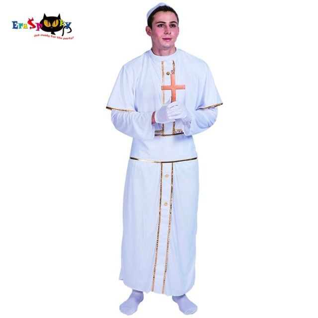 Adult Men Pope Pastor Priest Clergy Costumes White Robe Carnival Christmas Disguise Clothing Male Adult Halloween Costumes