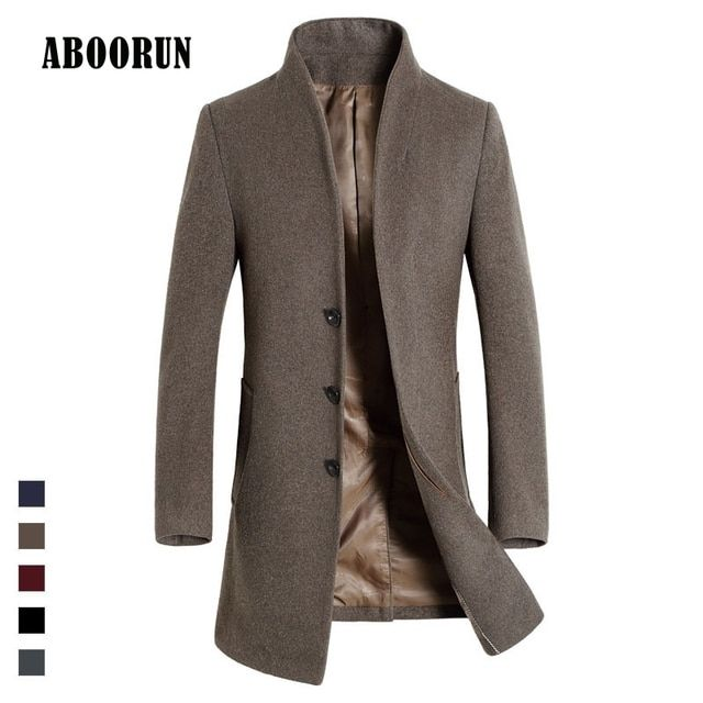 2017 High Quality Mens Long Wool Trench Coat Korean Men Slim fit Trench Parkas for Autumn