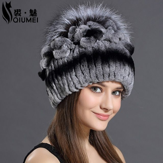 Knitted Hats 2016 Winter Rabbit Fur Beanies Headgear For Women With Fox Fur Luxury Ball Flower Cap Women's Customized Hat Beanie