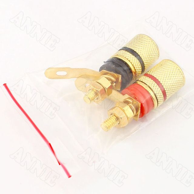 50pcs/lot  Gold Plated Wire Terminal Horn Audio Speaker Banana Plug For Budweiser DIY Sufficient Insulation Socket