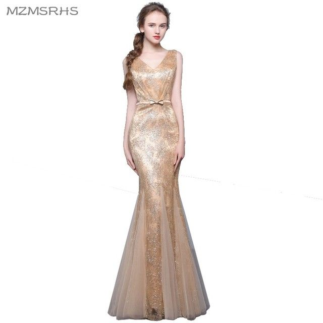 Long Mermaid Evening Dress 2017 Gold Black Silver Burgundry Red Lace Floor Length Women Formal Gowns Elegant Party Dresses