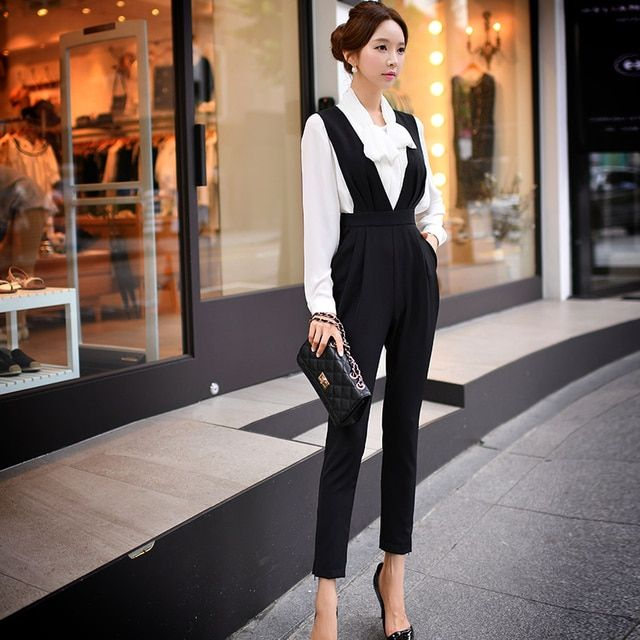 Original 2016 Brand Pants Ladies Spring Autumn  V Neck High Waist Fashion Elegant Black Overalls