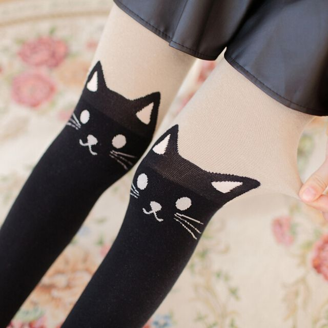 Japanese autumn and winter thickened cute cat knitted cotton tights cartoon print false false thickened knee foot backing tights