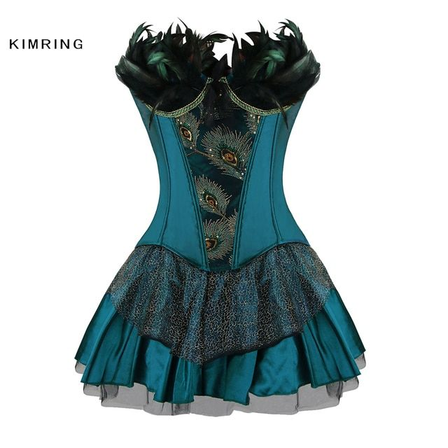 Kimring Elegant Luxury and Classic Elegant Peacock Corset Sexy Gothic Corset Dress Waist Cincher Corsets and Bustiers for Women