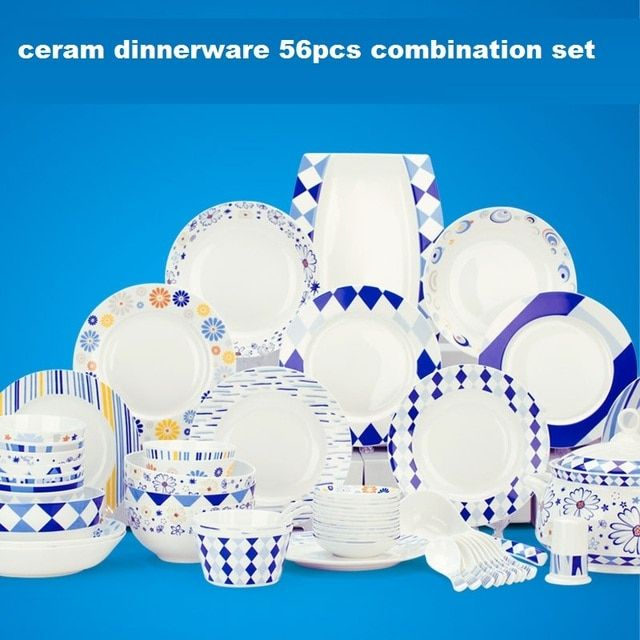 56pcs bone china dinnerware set aegean sea household dishes set ceramic tableware set