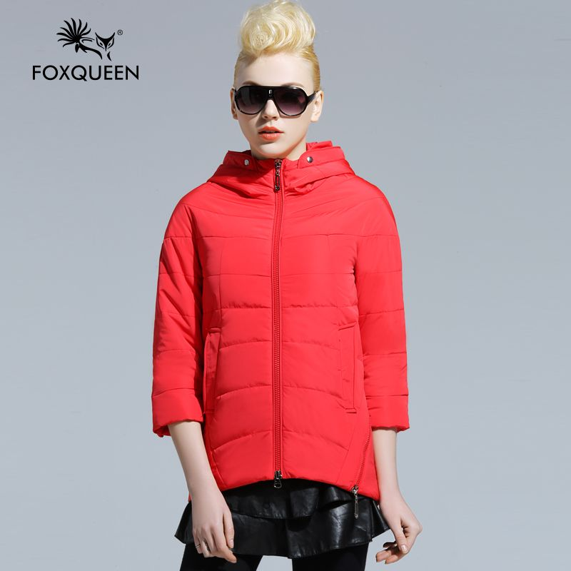 Foxqueen 2016 Spring New Women Long Jacket Hooded Padded Cotton Coat  High Quality Thin Bomber Jacket Women's Outwear Clothes
