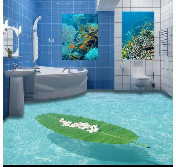 Custom 3d flooring mural wallpapers 3 d Marine indoor stereo bathroom floor toilet pvc wallpaper for living room Wall Stickers