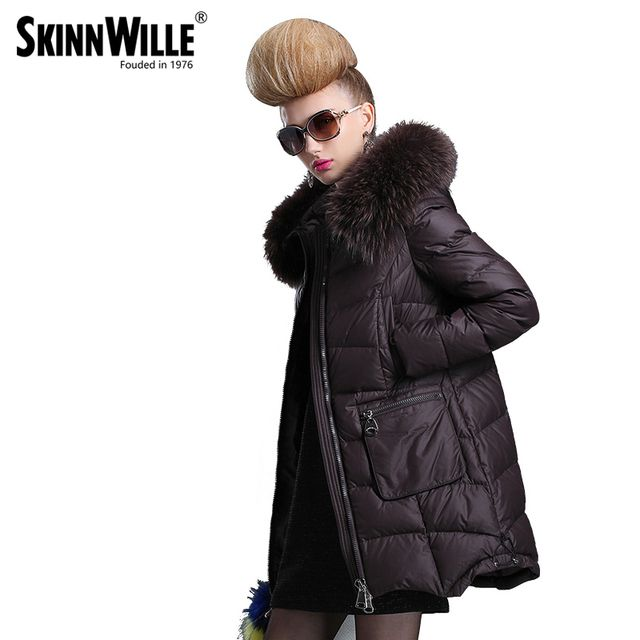 SKINNWILLE In the 2017 long white duck down coats Female long even the chinstrap collars in the coat