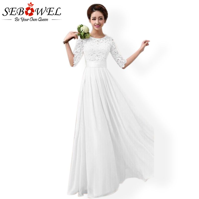 SEBOWEL Summer White Lace Party Dress Women Elegant Lace Maxi Party Dress 2019 Summer Lady Long Chiffon Dress for Bridal Wedding