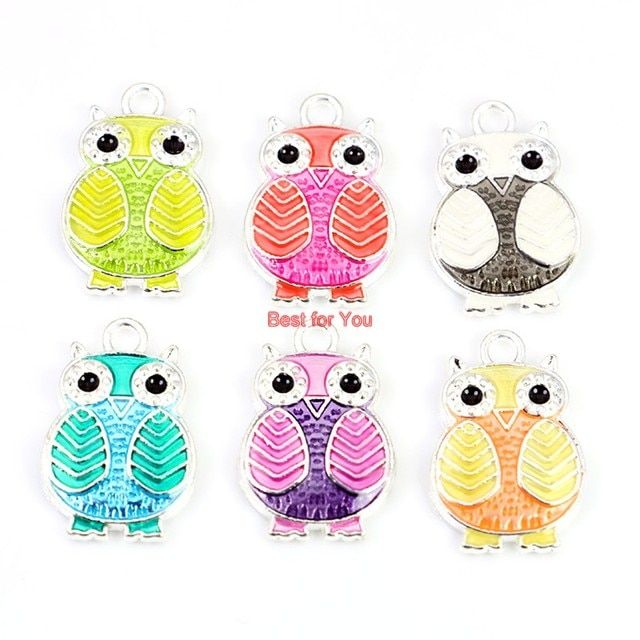 6pcs Silver Plated Retro Style Enamel Owl Charms Pendants Fashion Jewelry Making Diy Jewelry Findings