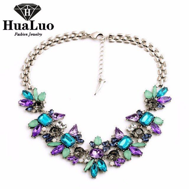 All-match Elegant Fashion Jewelry Crystal Rhinestone Pendant Chokers Necklaces Colorful Flowers Maxi Statement Necklack