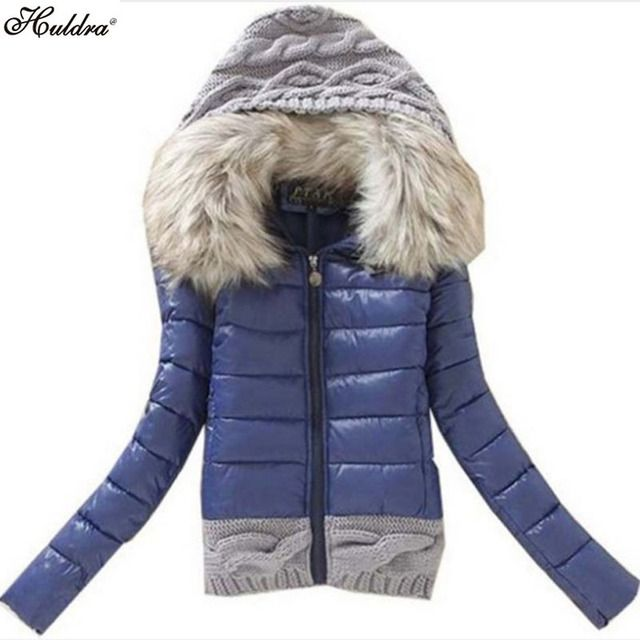 1PC Womens Winter Jackets And Coats Jaqueta Feminina Knitted Hood Fur Collar Cotton Padded Winter Jacket Women Q005