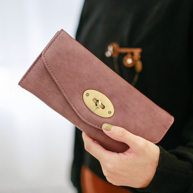 Brand New 2017 Vintage Retro Fashion Long Purses Large Capacity Turn Lock Women Leather Wallets Cover Money Bag Cluth Bolsas