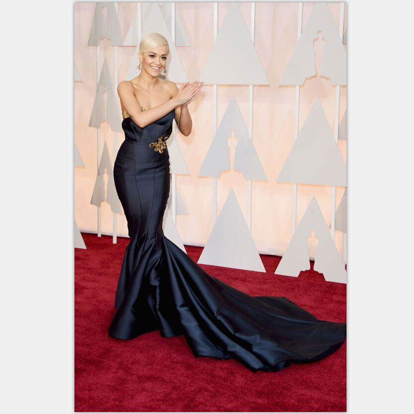 2016 Oscar Academy Awards Unique Design Rita Ora Celebrity Dress 87th Oscar Mermaid Red Carpet Gowns with Golden Decoration