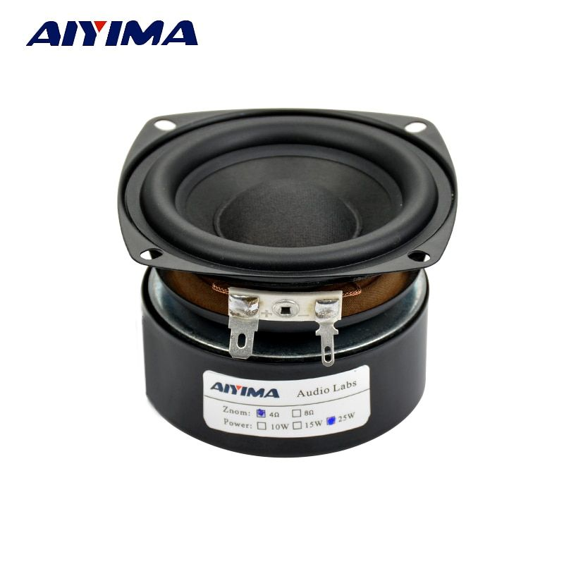 "AIYIMA 1Pcs Subwoofer 3"" Inch 25W HiFi Subwoofer Speaker 4Ohm 8Ohm Woofer Audio Bass Loudspeaker Square DIY"