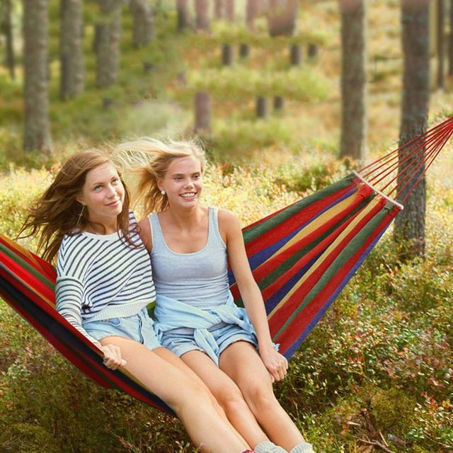 Hammock Outdoor Camping Travel Garden Swing Hammock Portable Stylish Luxury Striped Canvas Hang Bed Hammocks Outdoor Furniture