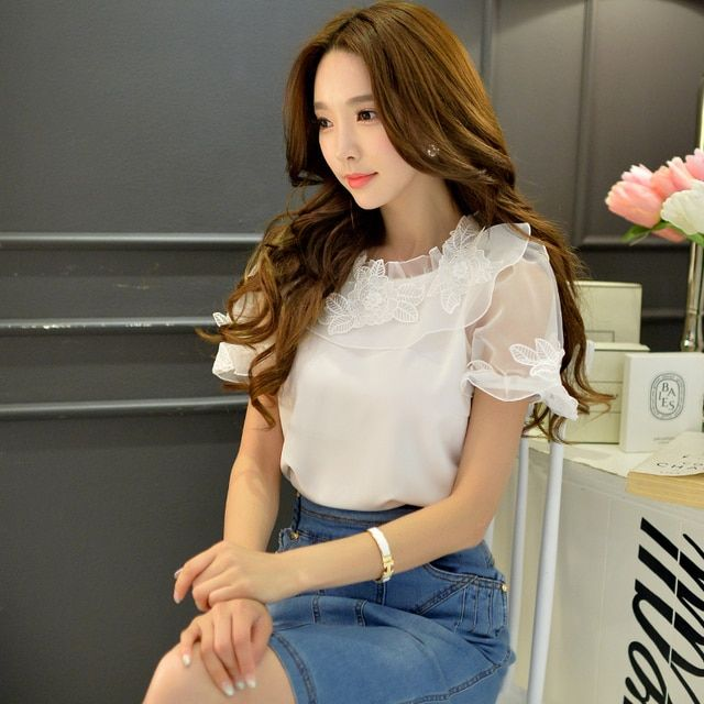 Original 2016 Brand Blusas Summer Plus Size Short Sleeve Lace Flowers White Elegant Cute Mesh Blouse Women Wholesale