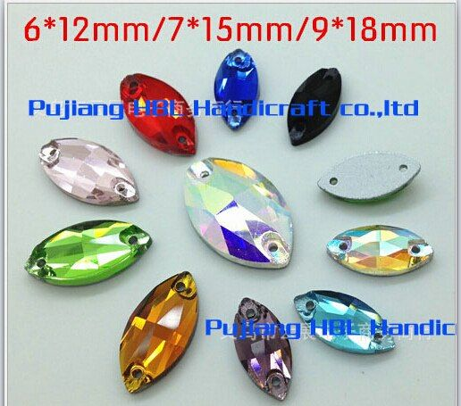 Very Shining 6x12mm Horse Eyes Shape 2Holes Crystal Glass  Sewing On Rhinestones Flatback Drop Water Buttons  For Dresses
