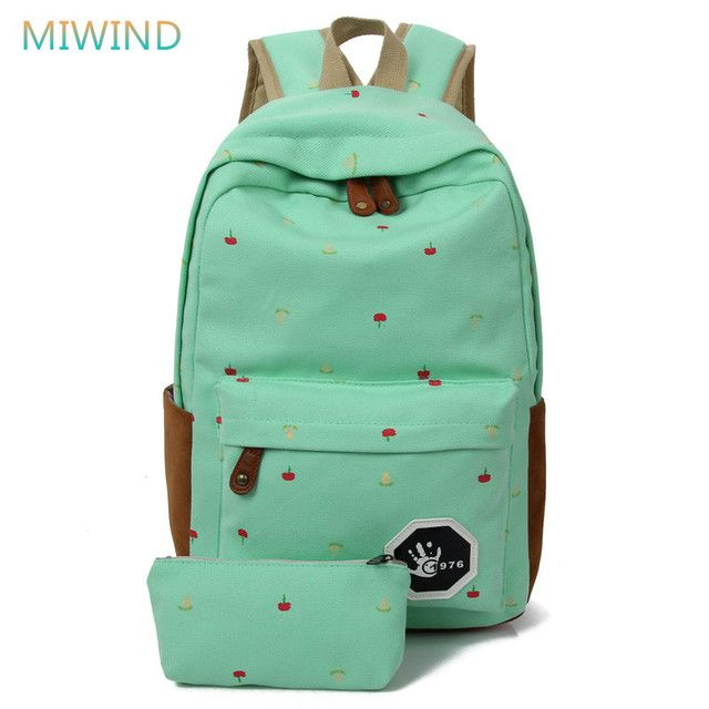 MIWIND 2017 Newest Canvas Backpack Female Flowes Printing Backpack Preppy Style School Bags For Teenagers Mochila Militar CB185