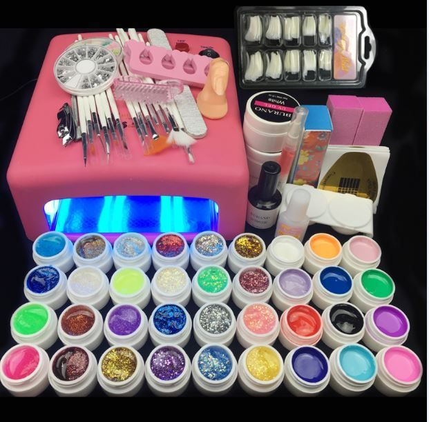 Burano 36W UV Lamp & 36 Colors UV Gel Nail polish Art Tools polish nail Set Kit building gel manicure set a seto of tools