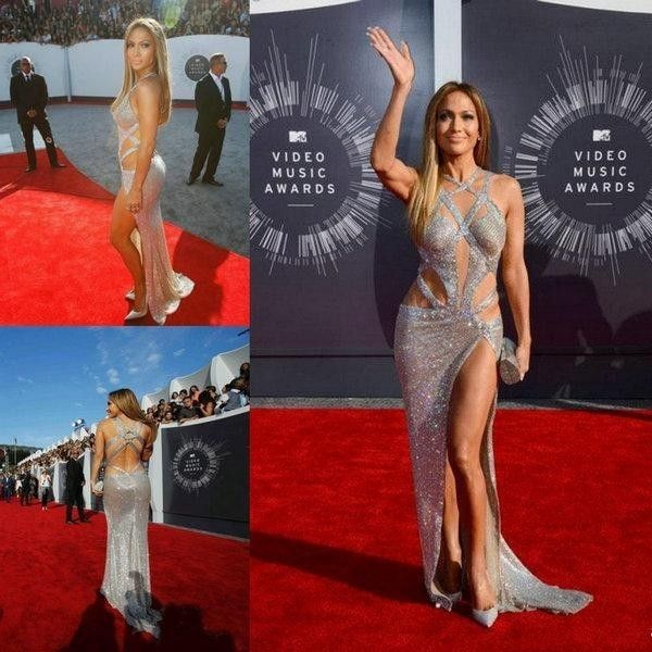 Jennifer Lopez 2014 Luxury Sexy Prom Dresses Criss Cross Straps Split side Sequins Evening Celebrity Red Carpet Gowns c61