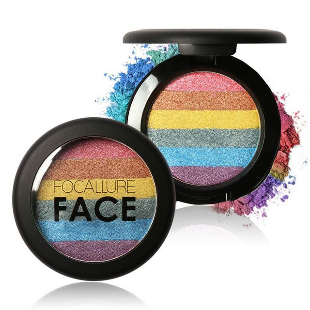 Rainbow Highlighter Face Brightener Contour Kits Shinner Glow Kit Powder Highlighter Rainbow Makeup