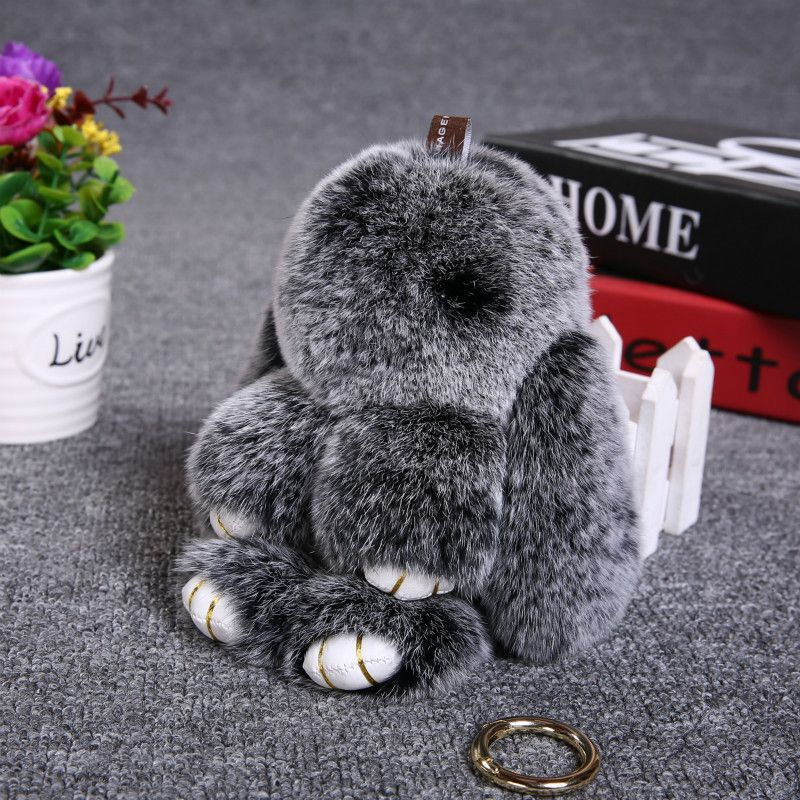 New Children's toy Natural fur pompon bunny Key Chain Bag charm Pendant Trinket Fluffy rabbit Keychain Hare key ring for phone