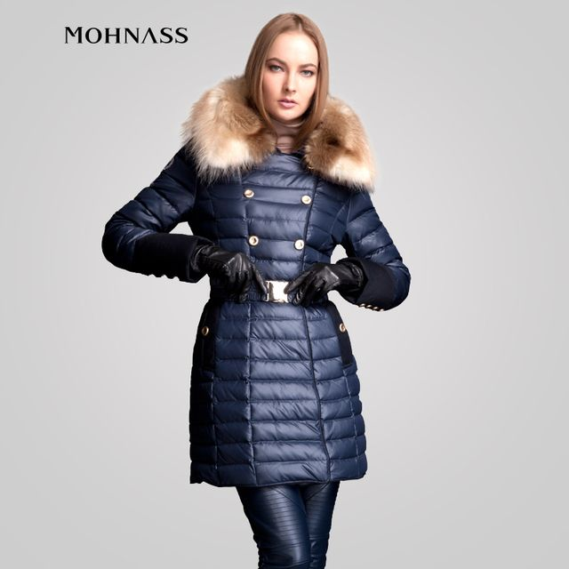 MOHNASS 2015 Winter parka Woman Duck Down Elegant Jacket Slim Fashion Coat Real Large winter jacket women Free Shipping 2A7287