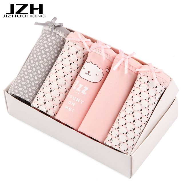 JZH Sale 5PCS/lot Women Panties Sexy Cotton Underwear Cute Printed Intimate Plus Size Briefs Breathable Underpants Female M-3XL